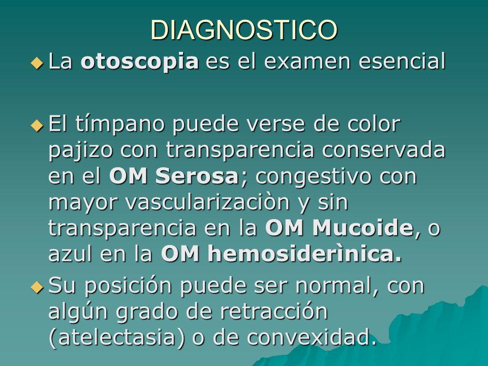 DIAGNOSTICO La otoscopia es el examen esencial La otoscopia es el examen esencial El tímpano puede verse de color pajizo con transparencia conservada