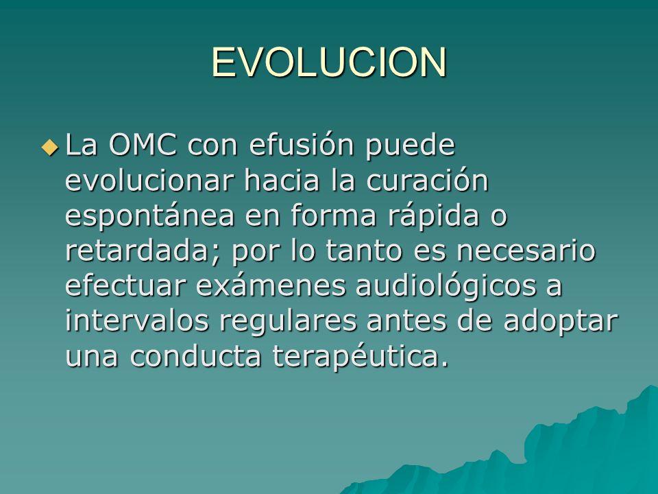 EVOLUCION La OMC con efusión puede evolucionar hacia la curación espontánea en forma rápida o retardada; por lo tanto es necesario efectuar exámenes a