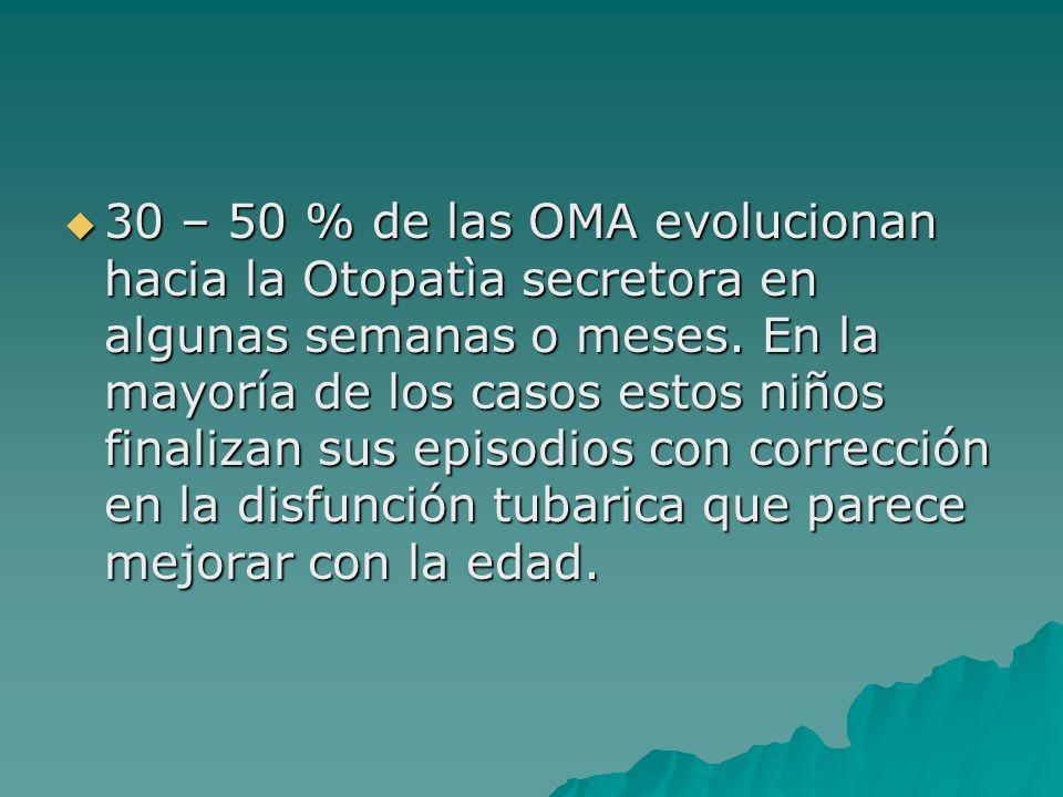 30 – 50 % de las OMA evolucionan hacia la Otopatìa secretora en algunas semanas o meses. En la mayoría de los casos estos niños finalizan sus episodio