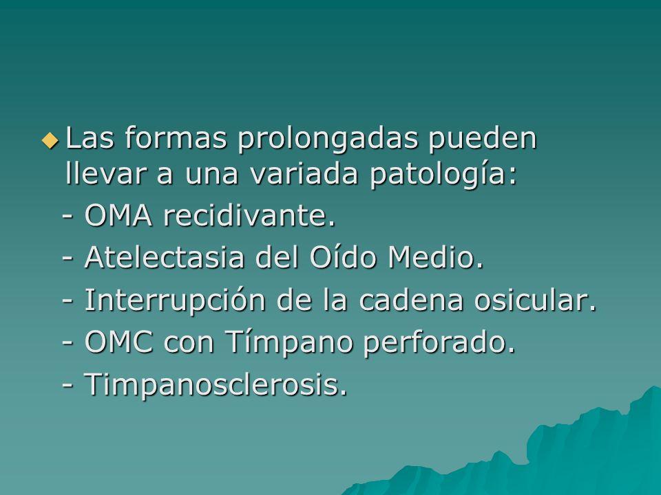 Las formas prolongadas pueden llevar a una variada patología: Las formas prolongadas pueden llevar a una variada patología: - OMA recidivante. - OMA r