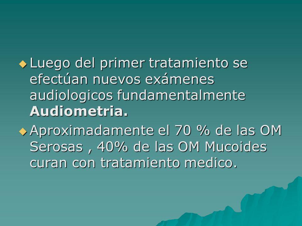 Luego del primer tratamiento se efectúan nuevos exámenes audiologicos fundamentalmente Audiometria. Luego del primer tratamiento se efectúan nuevos ex