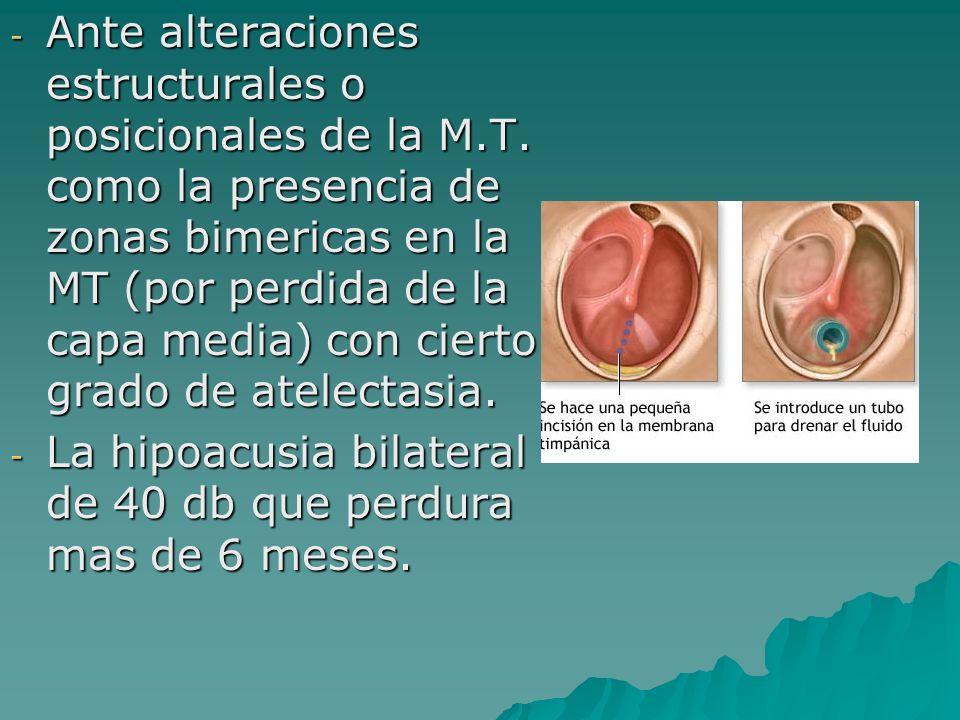 - Ante alteraciones estructurales o posicionales de la M.T. como la presencia de zonas bimericas en la MT (por perdida de la capa media) con cierto gr