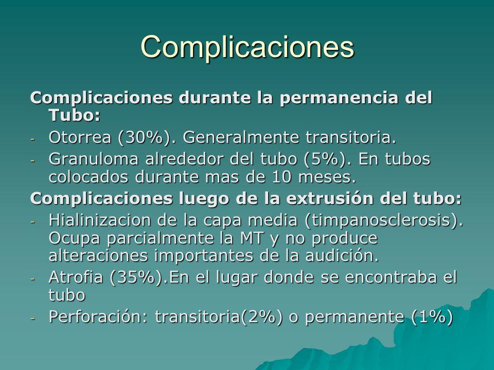 Complicaciones Complicaciones durante la permanencia del Tubo: - Otorrea (30%). Generalmente transitoria. - Granuloma alrededor del tubo (5%). En tubo