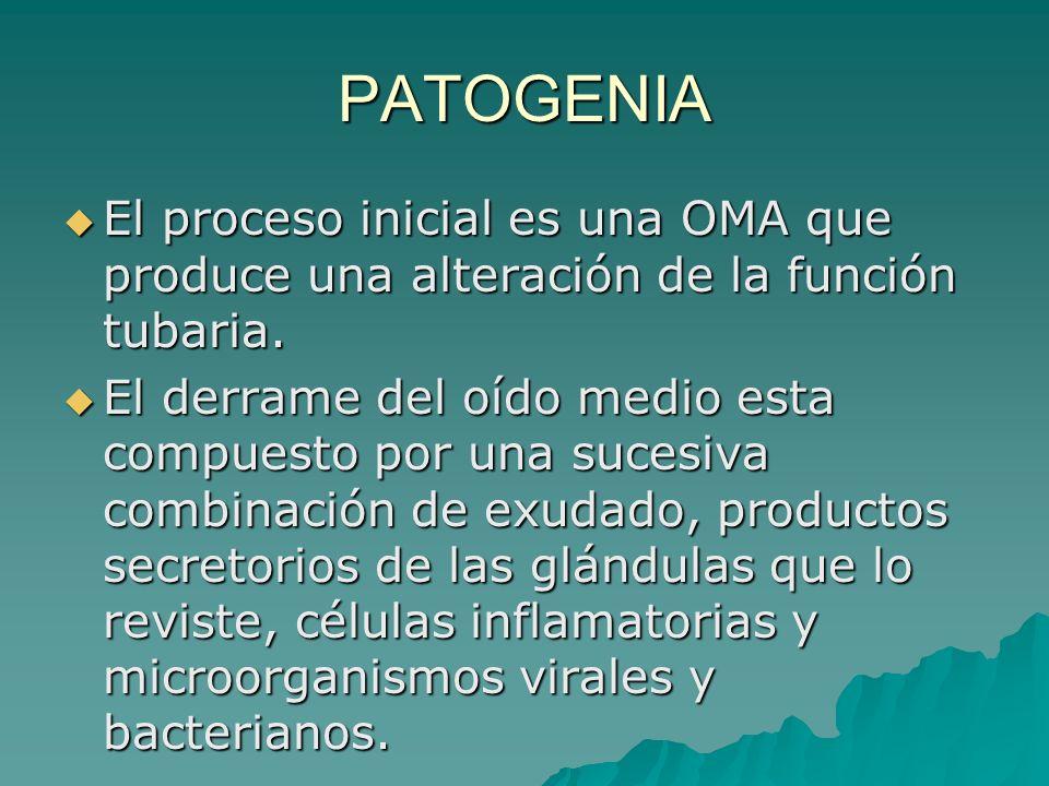 PATOGENIA El proceso inicial es una OMA que produce una alteración de la función tubaria. El proceso inicial es una OMA que produce una alteración de