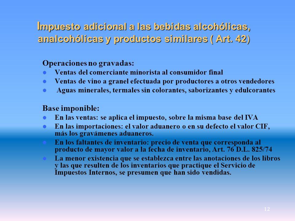 12 I mpuesto adicional a las bebidas alcohólicas, analcohólicas y productos similares ( Art. 42) Operaciones no gravadas: Ventas del comerciante minor