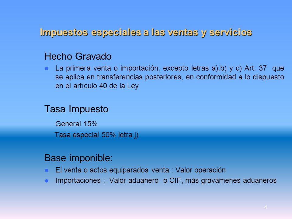 4 Impuestos especiales a las ventas y servicios Hecho Gravado La primera venta o importación, excepto letras a),b) y c) Art. 37 que se aplica en trans