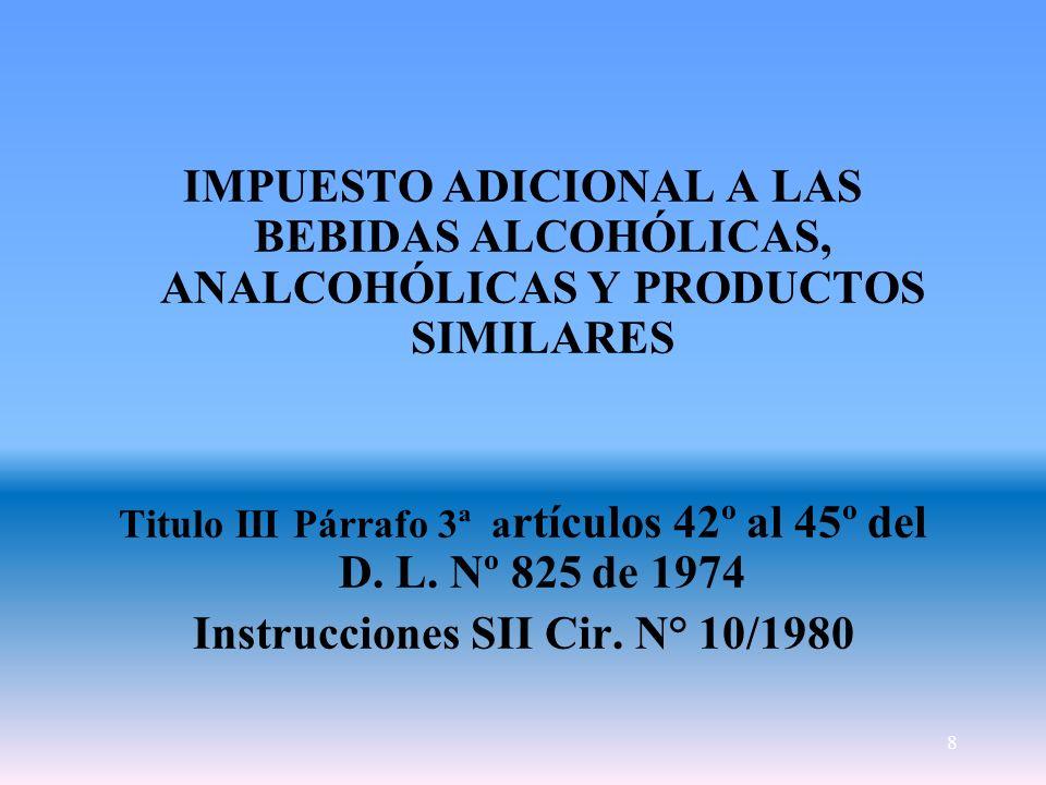 8 IMPUESTO ADICIONAL A LAS BEBIDAS ALCOHÓLICAS, ANALCOHÓLICAS Y PRODUCTOS SIMILARES Titulo III Párrafo 3ª a rtículos 42º al 45º del D. L. Nº 825 de 19