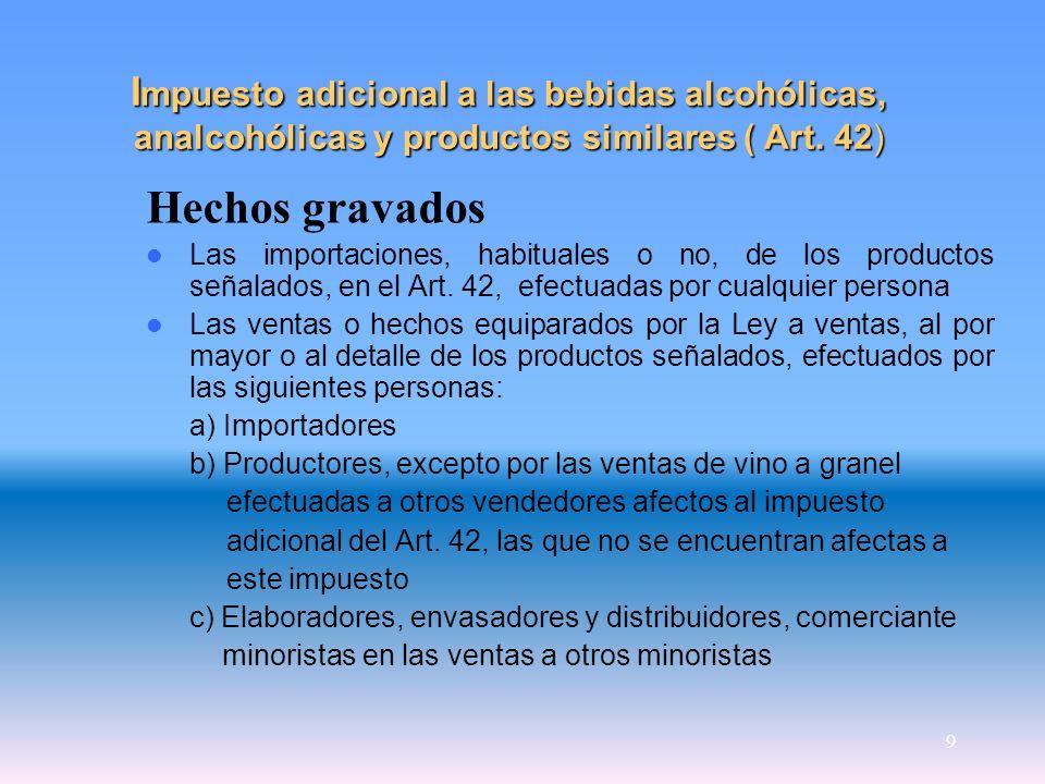 9 I mpuesto adicional a las bebidas alcohólicas, analcohólicas y productos similares ( Art. 42) Hechos gravados Las importaciones, habituales o no, de