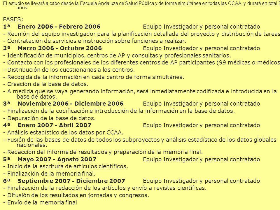 El estudio se llevará a cabo desde la Escuela Andaluza de Salud Pública y de forma simultánea en todas las CCAA, y durará en total 2 años. FASES: 1ª E
