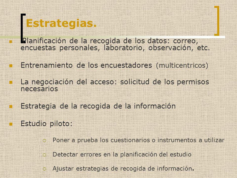 Estrategias. Planificación de la recogida de los datos: correo, encuestas personales, laboratorio, observación, etc. Entrenamiento de los encuestadore