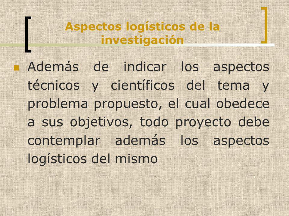 Aspectos logísticos de la investigación Además de indicar los aspectos técnicos y científicos del tema y problema propuesto, el cual obedece a sus obj