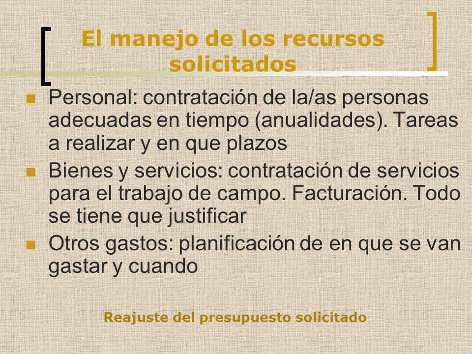 El manejo de los recursos solicitados Personal: contratación de la/as personas adecuadas en tiempo (anualidades). Tareas a realizar y en que plazos Bi