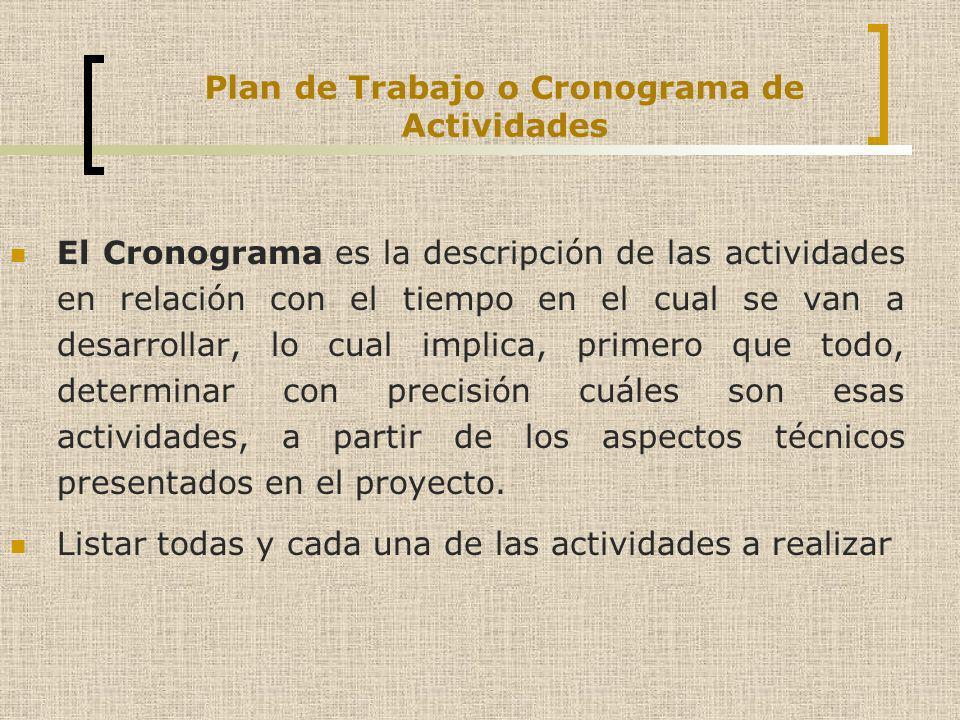 Plan de Trabajo o Cronograma de Actividades El Cronograma es la descripción de las actividades en relación con el tiempo en el cual se van a desarroll