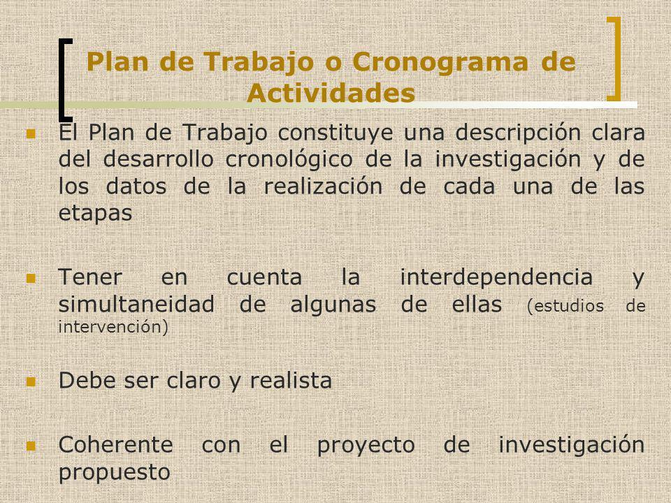 Plan de Trabajo o Cronograma de Actividades El Plan de Trabajo constituye una descripción clara del desarrollo cronológico de la investigación y de lo
