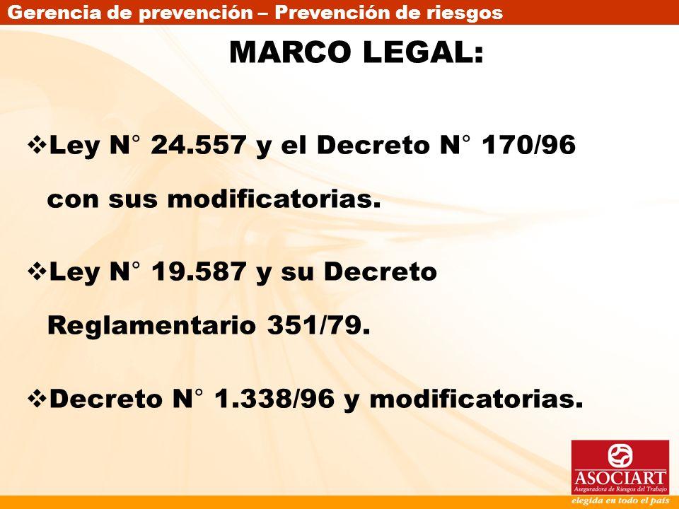 Gerencia de prevención – Prevención de riesgos MARCO LEGAL: Ley N° 24.557 y el Decreto N° 170/96 con sus modificatorias. Ley N° 19.587 y su Decreto Re