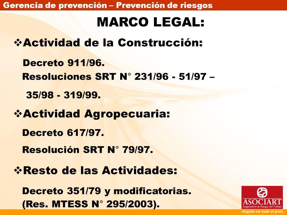 Gerencia de prevención – Prevención de riesgos MARCO LEGAL: Actividad de la Construcción: Decreto 911/96. Resoluciones SRT N° 231/96 - 51/97 – 35/98 -