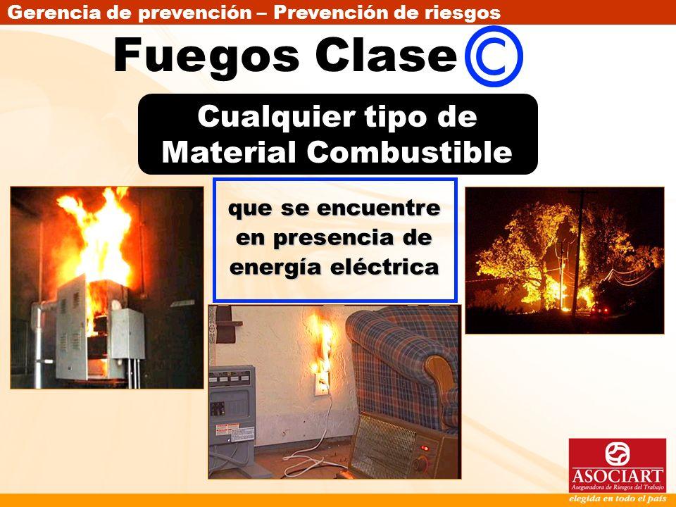 Gerencia de prevención – Prevención de riesgos que se encuentre en presencia de energía eléctrica Cualquier tipo de Material Combustible Fuegos Clase