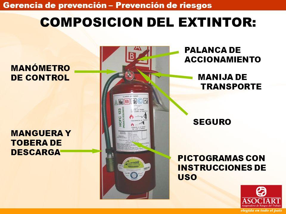Gerencia de prevención – Prevención de riesgos COMPOSICION DEL EXTINTOR: MANÓMETRO DE CONTROL MANGUERA Y TOBERA DE DESCARGA PALANCA DE ACCIONAMIENTO S