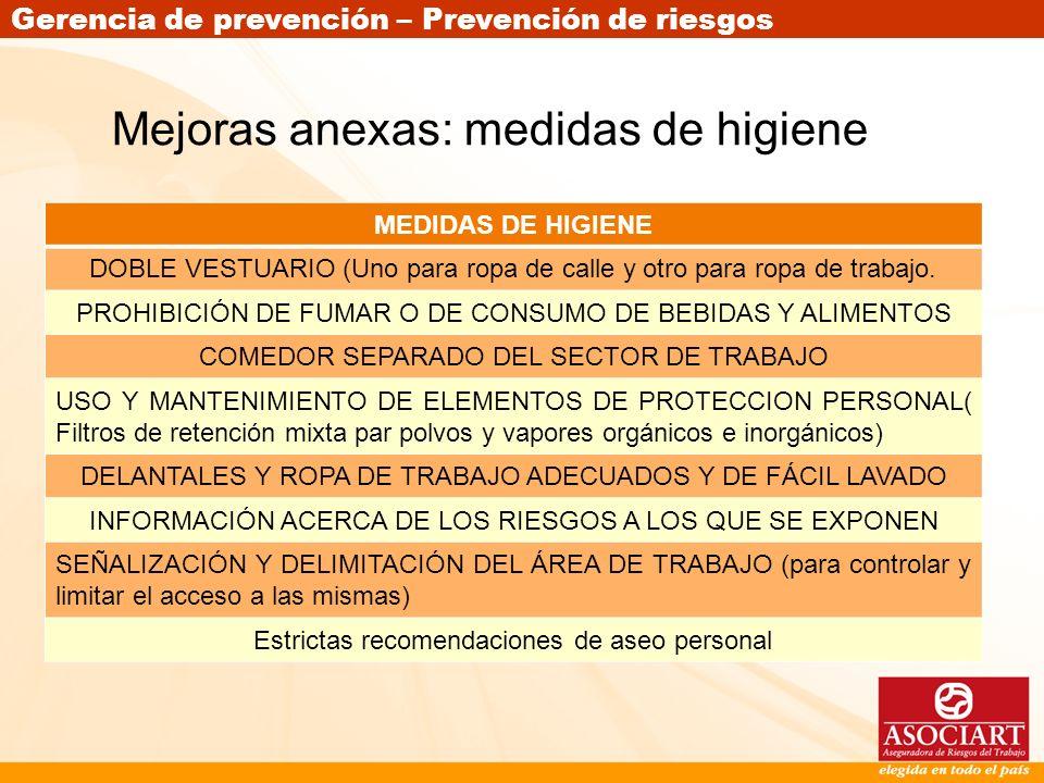 Gerencia de prevención – Prevención de riesgos Mejoras anexas: medidas de higiene MEDIDAS DE HIGIENE DOBLE VESTUARIO (Uno para ropa de calle y otro pa