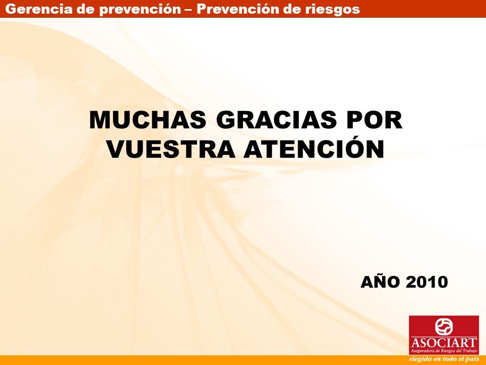 Gerencia de prevención – Prevención de riesgos MUCHAS GRACIAS POR VUESTRA ATENCIÓN AÑO 2010