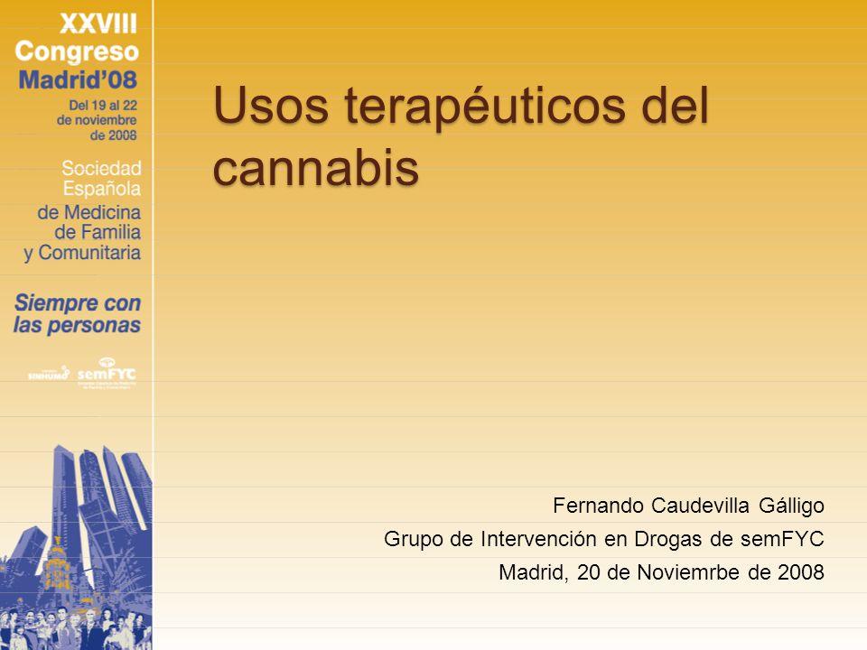 Fármacos que actúan sobre el sistema cannabinoide endógeno Agonistas del SCE: Dronabinol Nabilona Spray de tetrahidrocannabinol/cannabidiol (THC/CBD) Otros: Levonantradol, dexanabinol, CT-3….