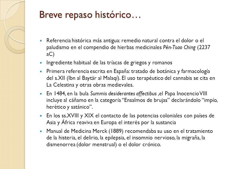 Breve repaso histórico… Referencia histórica más antigua: remedio natural contra el dolor o el paludismo en el compendio de hierbas medicinales Pên-Ts