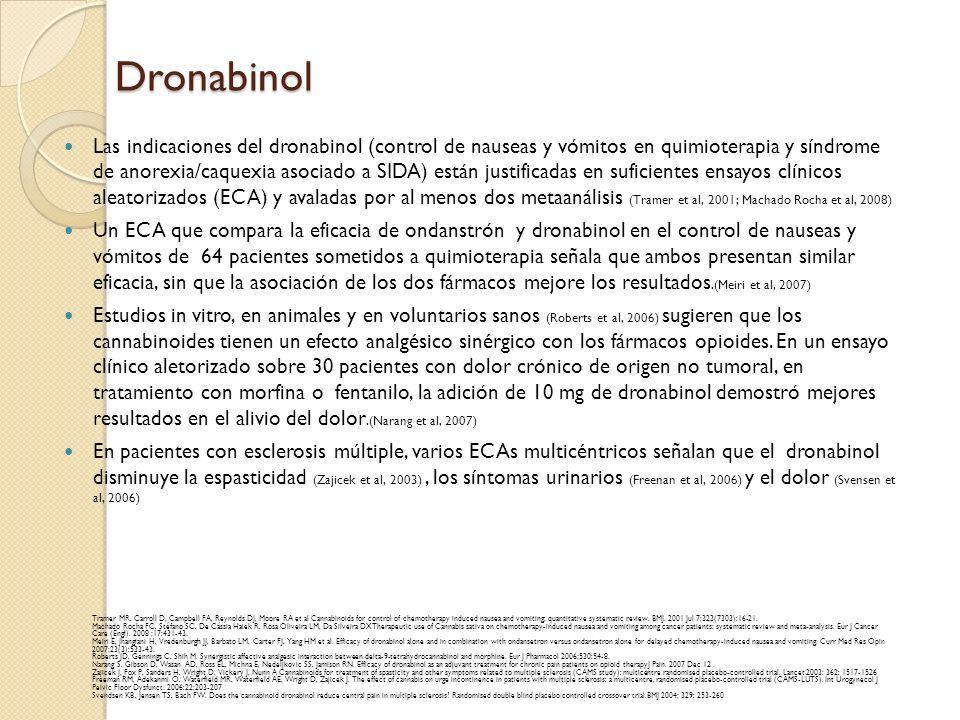 Dronabinol Las indicaciones del dronabinol (control de nauseas y vómitos en quimioterapia y síndrome de anorexia/caquexia asociado a SIDA) están justi