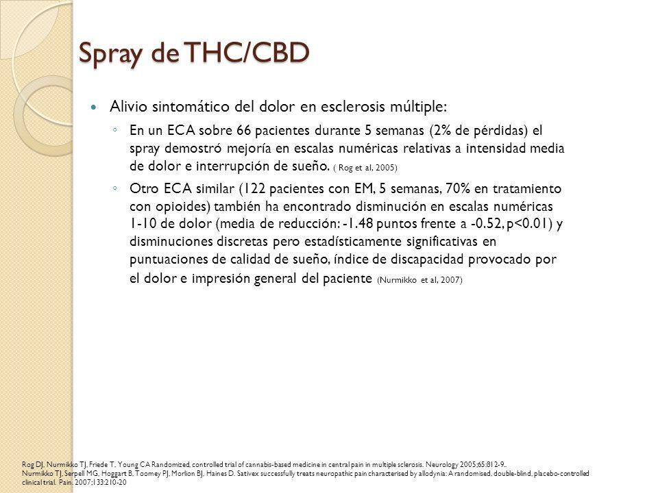Spray de THC/CBD Alivio sintomático del dolor en esclerosis múltiple: En un ECA sobre 66 pacientes durante 5 semanas (2% de pérdidas) el spray demostr