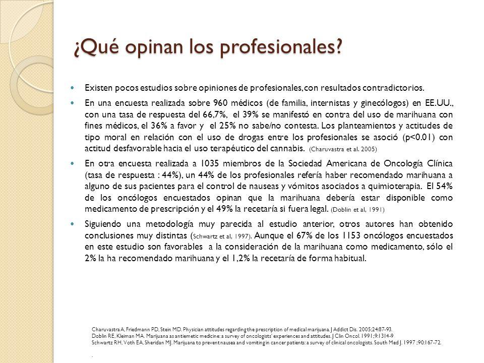 ¿Qué opinan los profesionales? Existen pocos estudios sobre opiniones de profesionales, con resultados contradictorios. En una encuesta realizada sobr