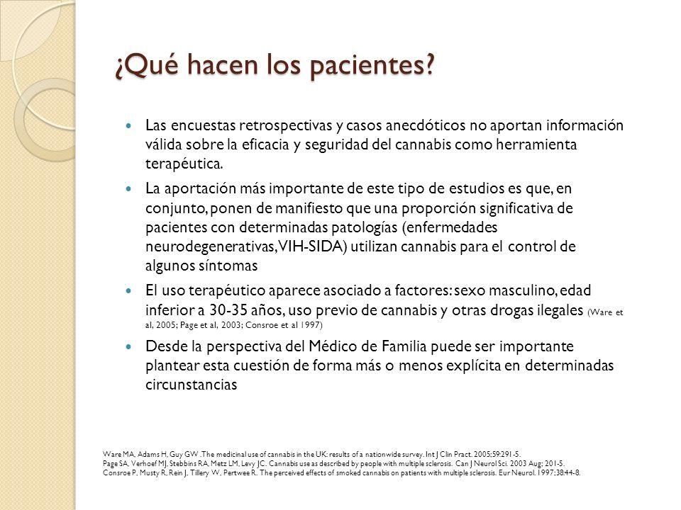 ¿Qué hacen los pacientes? Las encuestas retrospectivas y casos anecdóticos no aportan información válida sobre la eficacia y seguridad del cannabis co
