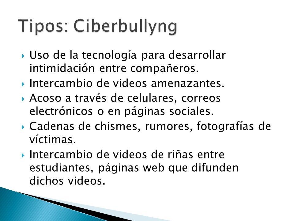 Uso de la tecnología para desarrollar intimidación entre compañeros. Intercambio de videos amenazantes. Acoso a través de celulares, correos electróni