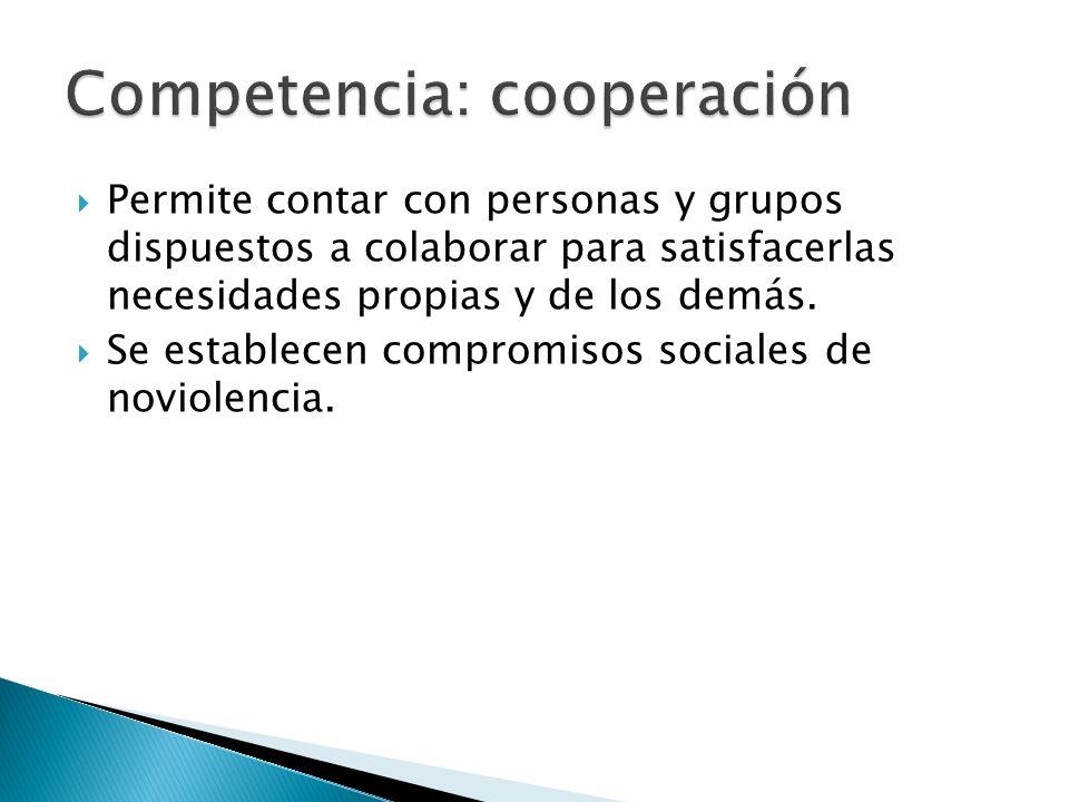 Permite contar con personas y grupos dispuestos a colaborar para satisfacerlas necesidades propias y de los demás. Se establecen compromisos sociales