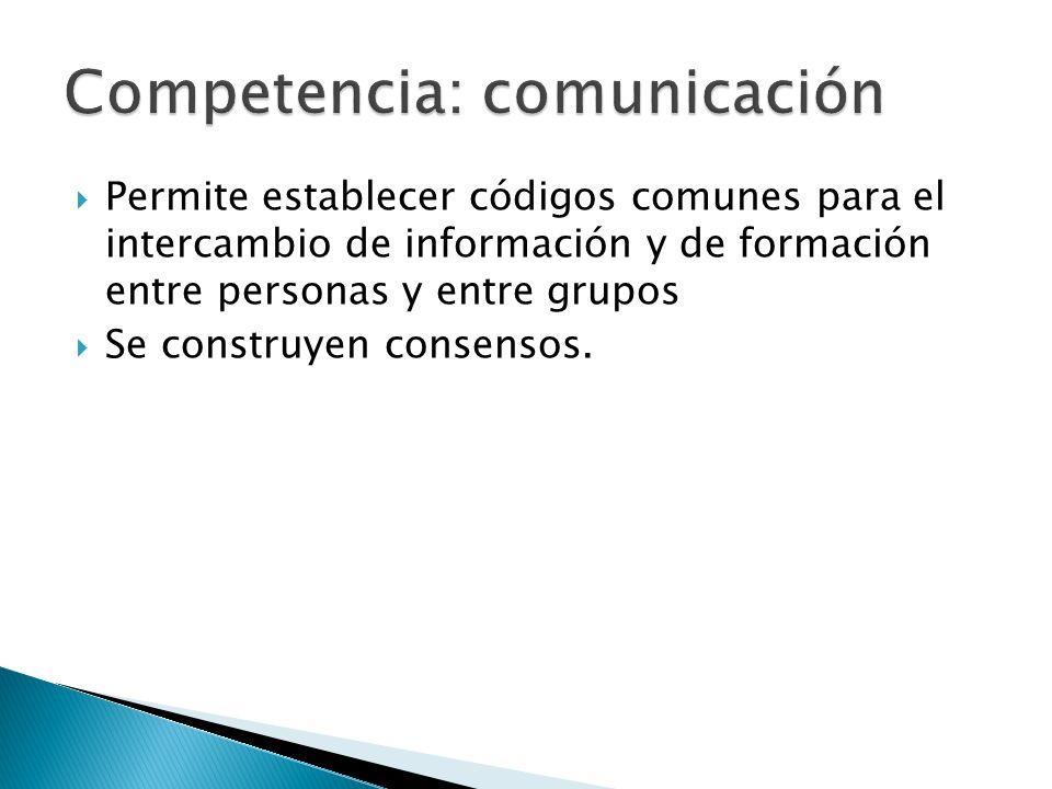 Permite establecer códigos comunes para el intercambio de información y de formación entre personas y entre grupos Se construyen consensos.