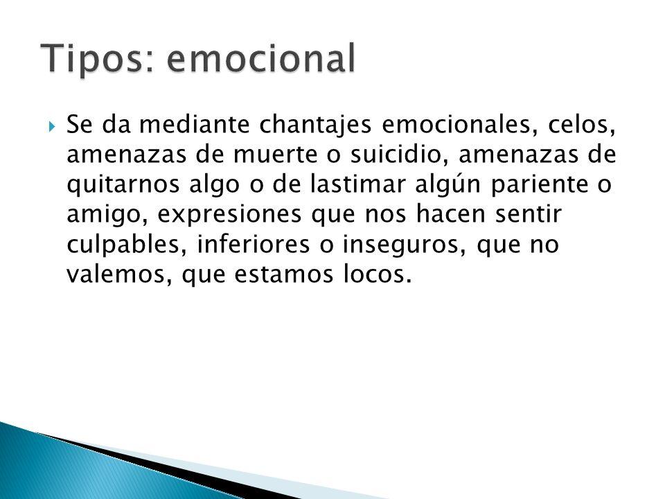 Se da mediante chantajes emocionales, celos, amenazas de muerte o suicidio, amenazas de quitarnos algo o de lastimar algún pariente o amigo, expresion