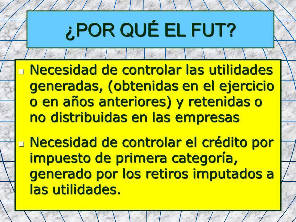 10 ¿POR QUÉ EL FUT? Necesidad de controlar las utilidades generadas, (obtenidas en el ejercicio o en años anteriores) y retenidas o no distribuidas en