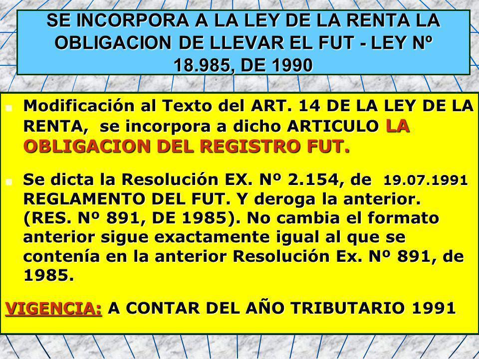14 SE INCORPORA A LA LEY DE LA RENTA LA OBLIGACION DE LLEVAR EL FUT - LEY Nº 18.985, DE 1990 Modificación al Texto del ART. 14 DE LA LEY DE LA RENTA,