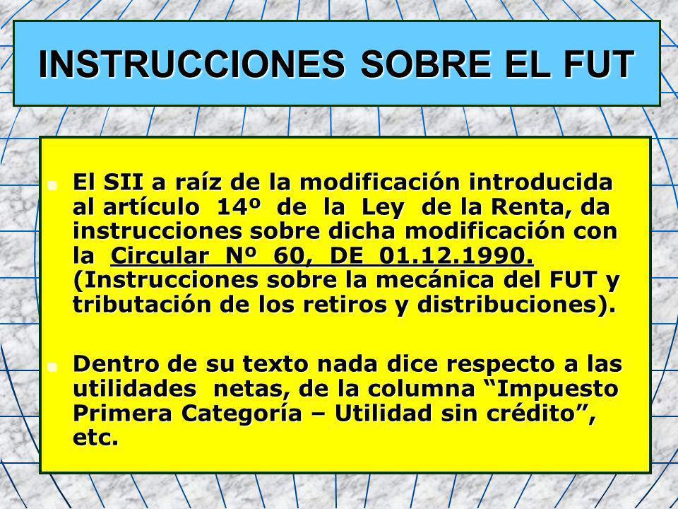 27 INSTRUCCIONES SOBRE EL FUT El SII a raíz de la modificación introducida al artículo 14º de la Ley de la Renta, da instrucciones sobre dicha modific