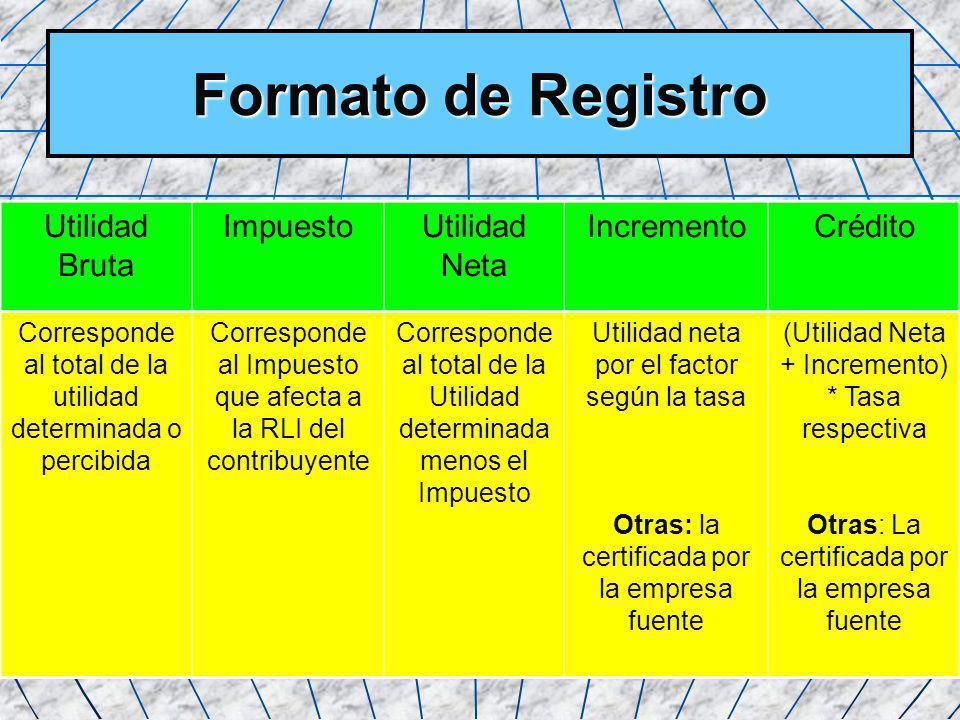 29 Formato de Registro Utilidad Bruta ImpuestoUtilidad Neta IncrementoCrédito Corresponde al total de la utilidad determinada o percibida Corresponde