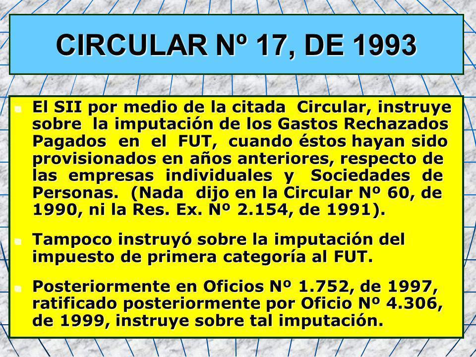 30 CIRCULAR Nº 17, DE 1993 El SII por medio de la citada Circular, instruye sobre la imputación de los Gastos Rechazados Pagados en el FUT, cuando ést