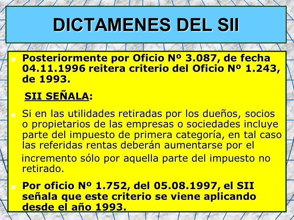 33 DICTAMENES DEL SII Posteriormente por Oficio Nº 3.087, de fecha 04.11.1996 reitera criterio del Oficio Nº 1.243, de 1993. Posteriormente por Oficio