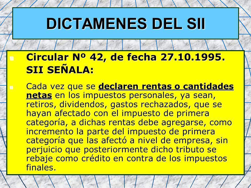 34 DICTAMENES DEL SII Circular Nº 42, de fecha 27.10.1995. Circular Nº 42, de fecha 27.10.1995. SII SEÑALA: SII SEÑALA: Cada vez que se declaren renta