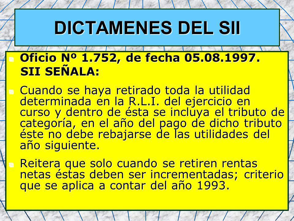 36 DICTAMENES DEL SII Oficio Nº 1.752, de fecha 05.08.1997. Oficio Nº 1.752, de fecha 05.08.1997. SII SEÑALA: SII SEÑALA: Cuando se haya retirado toda