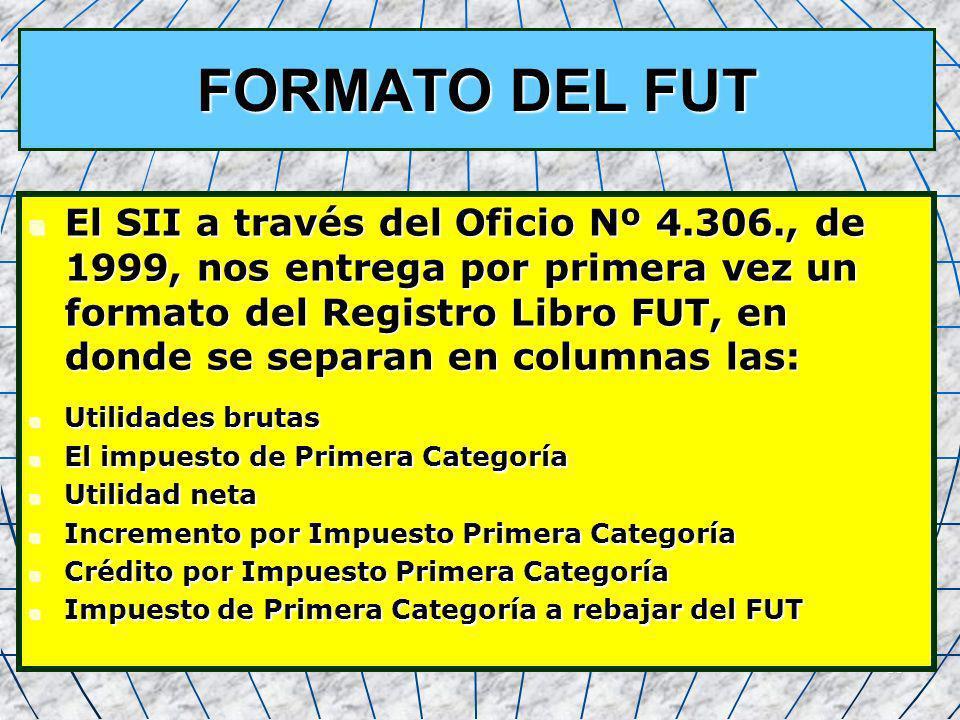 38 FORMATO DEL FUT El SII a través del Oficio Nº 4.306., de 1999, nos entrega por primera vez un formato del Registro Libro FUT, en donde se separan e