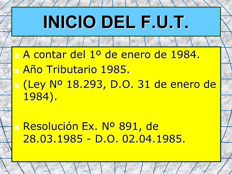 4 INICIO DEL F.U.T. A contar del 1º de enero de 1984. A contar del 1º de enero de 1984. Año Tributario 1985. Año Tributario 1985. (Ley Nº 18.293, D.O.