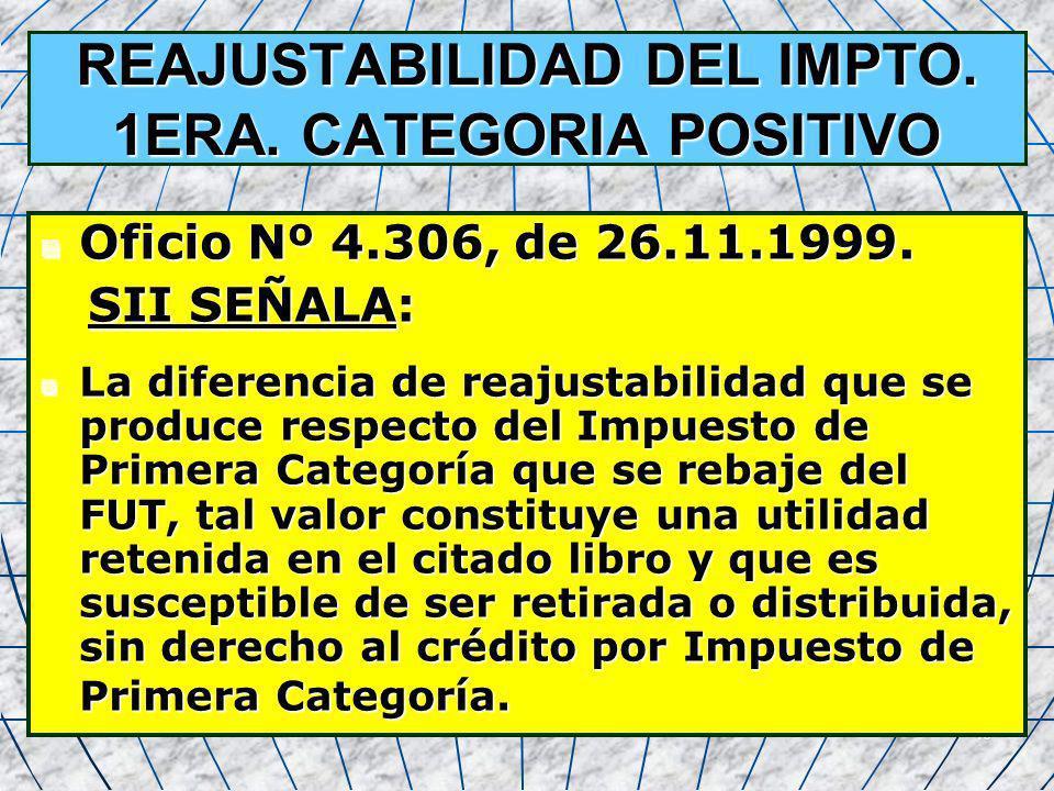 40 REAJUSTABILIDAD DEL IMPTO. 1ERA. CATEGORIA POSITIVO Oficio Nº 4.306, de 26.11.1999. Oficio Nº 4.306, de 26.11.1999. SII SEÑALA: SII SEÑALA: La dife