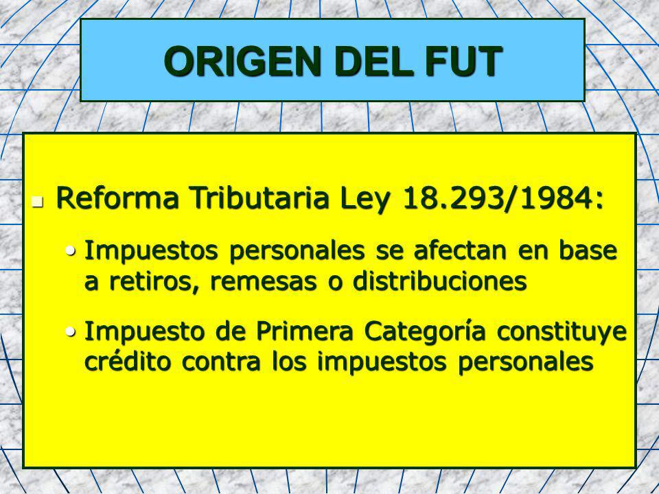 5 ORIGEN DEL FUT Reforma Tributaria Ley 18.293/1984: Reforma Tributaria Ley 18.293/1984: Impuestos personales se afectan en base a retiros, remesas o