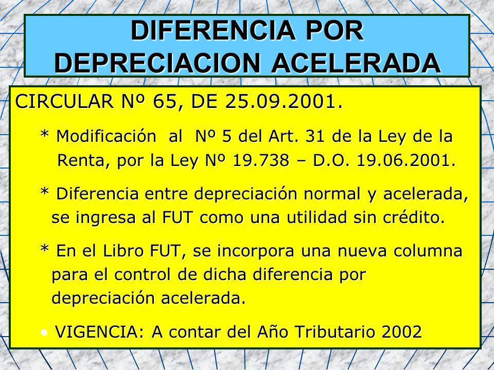 58 DIFERENCIA POR DEPRECIACION ACELERADA CIRCULAR Nº 65, DE 25.09.2001. * Modificación al Nº 5 del Art. 31 de la Ley de la Renta, por la Ley Nº 19.738