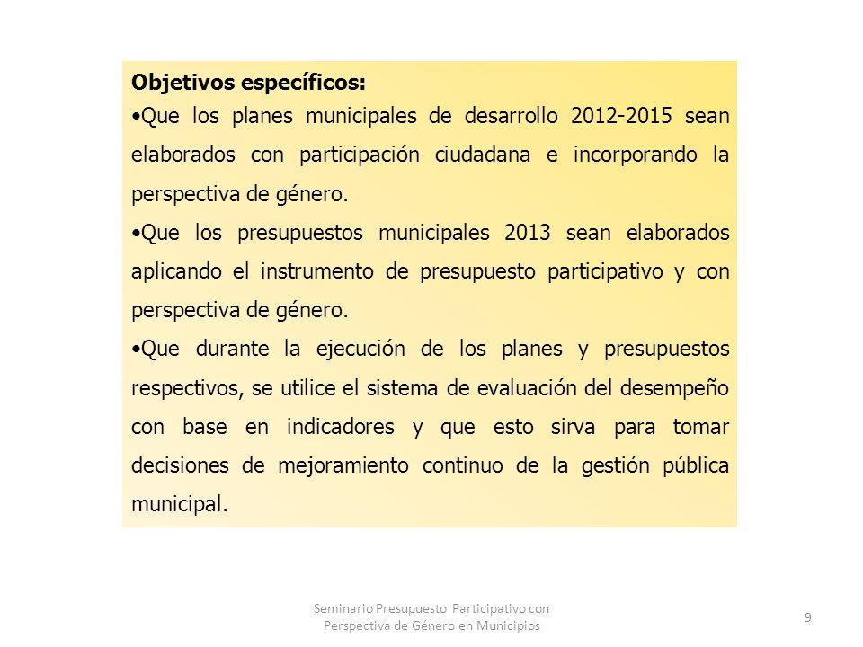 Seminario Presupuesto Participativo con Perspectiva de Género en Municipios 9 Objetivos específicos: Que los planes municipales de desarrollo 2012-2015 sean elaborados con participación ciudadana e incorporando la perspectiva de género.