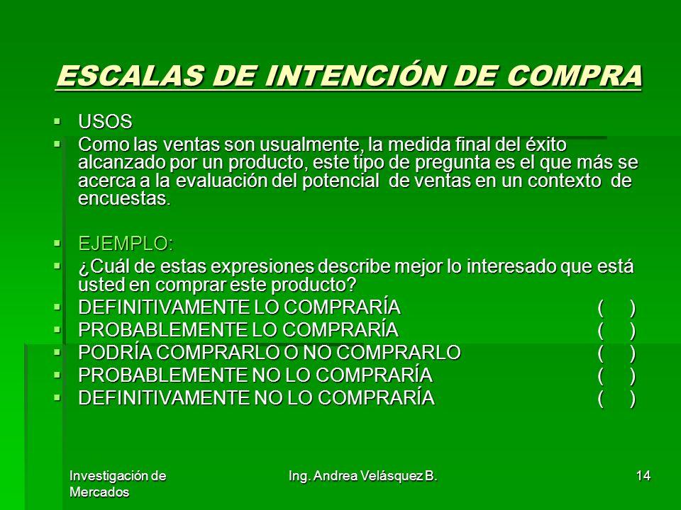 Investigación de Mercados Ing. Andrea Velásquez B.14 ESCALAS DE INTENCIÓN DE COMPRA ESCALAS DE INTENCIÓN DE COMPRA USOS USOS Como las ventas son usual