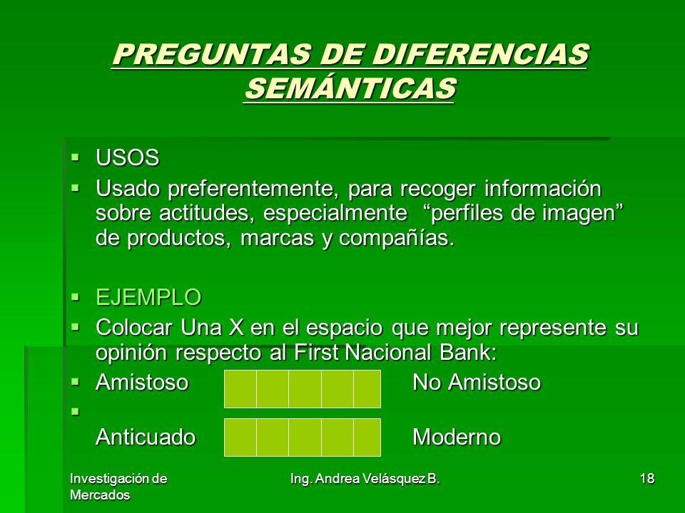 Investigación de Mercados Ing. Andrea Velásquez B.18 PREGUNTAS DE DIFERENCIAS SEMÁNTICAS USOS USOS Usado preferentemente, para recoger información sob